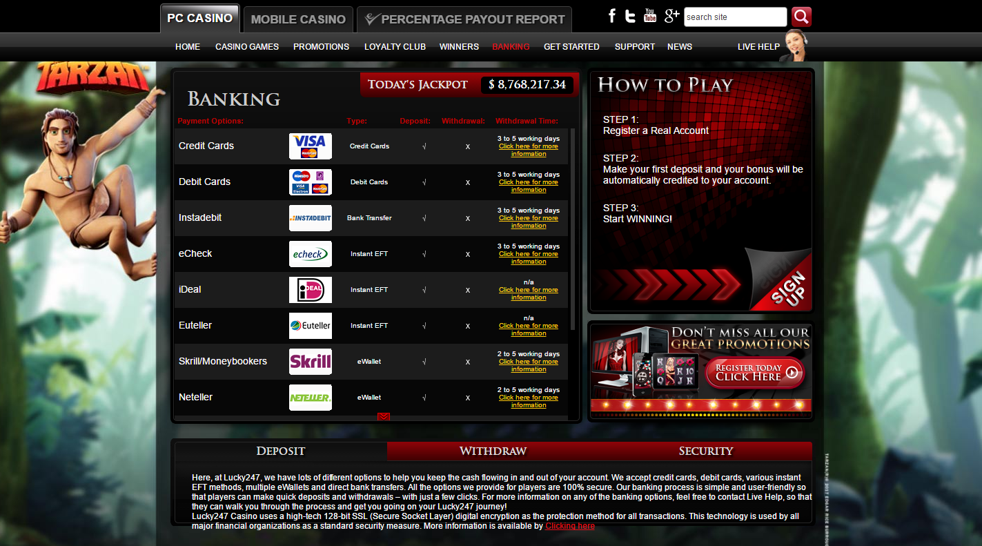 screenshot of the banking section